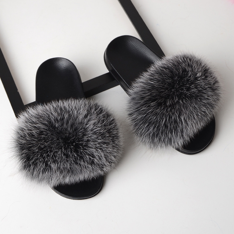 SARSALLYA Fur Slippers Women Real Fox Fur Slides Home Furry Flat Sandals Female Cute Fluffy House Shoes Woman Brand Luxury 2020 2
