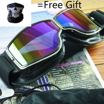 Universal Vintage Motorcycle Goggles Motorbike Scooter Biker Glasses Helmet Goggles Foldable motorcycle atv riding scooter driving flying protective frame clear lens portable vintage helmet goggles glasses for 2009 buell xb12r