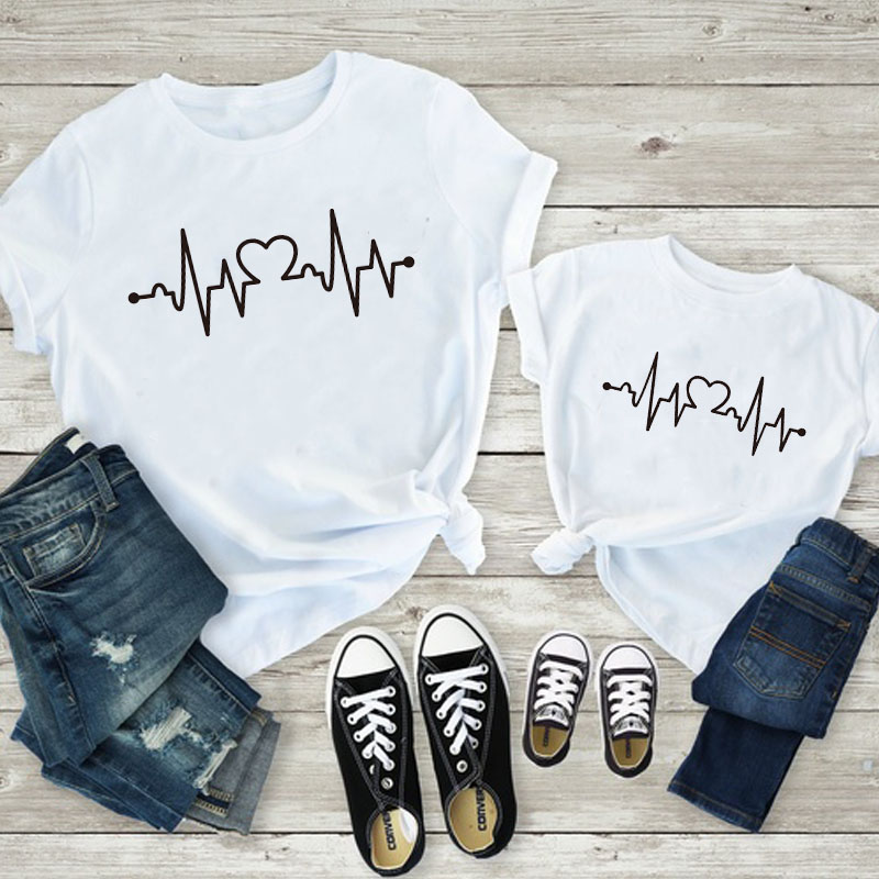 Mommy and Daughter Matching T Shirt Heart Beat Print | 2 Colors - Black and White