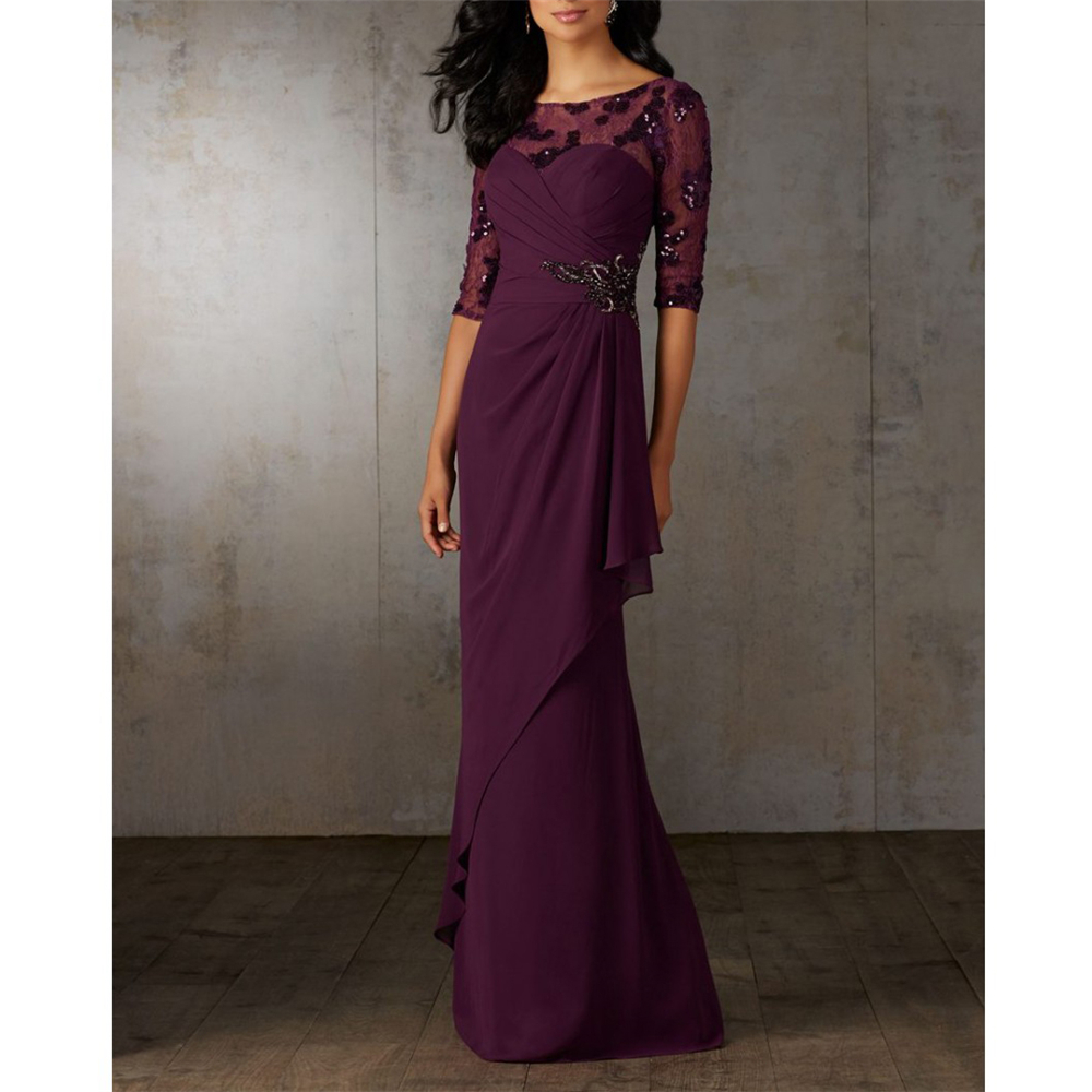 Dreamy Gown Purple Lace And Chiffon Mother Of The Bride Dresses Plus Size Half Sleeves A-line Sequins Sweep Train Mother Dresses