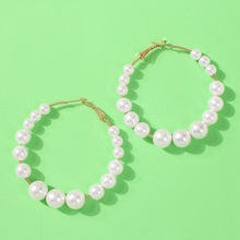 Simple White Pearl Hoop Earrings for Women Bohemian Handmade Large Hoops Fashion Party Boho Jewelry Oorbellen