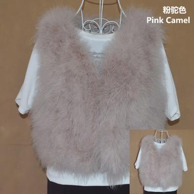 Новинка, женский жилет из натурального меха страуса, меховое пальто из страуса, Меховая куртка, много цветов,, низкая цена, F1092 - Цвет: pink camel