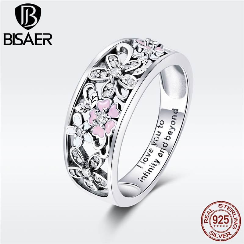 Flower Wide Ring For Women 925 Sterling  Silver Daisy Cherry Blooming Engrave Finger  Ring Lady Romantic Gift Bijoux GXR390