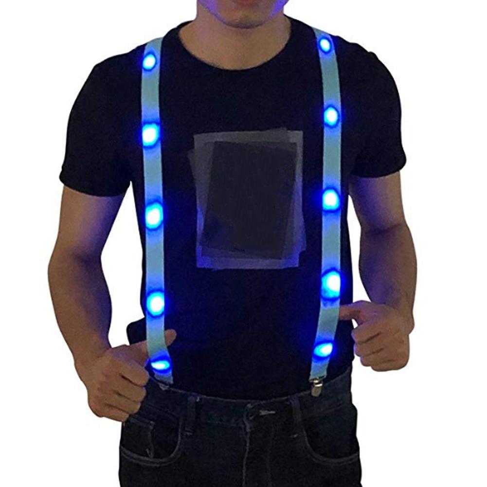 LED Glow Light Up Unisex Clip-on Suspenders Elastic Y-Shape Adjustable Braces Warning Chest Strap Party Suspenders Men