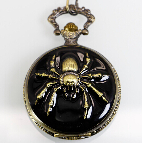 High Quality Antique Spider Quartz Pocket Watches For Man Woman Clock Watch With Fob Chain Necklace For Children