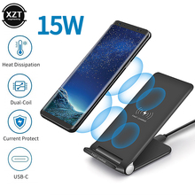 15W QI Wireless Charger Receiver for iPhone X XR XS Max 8 Fast Charging for Samsung Xiaomi Huawei Folding Mobile Phone Holder