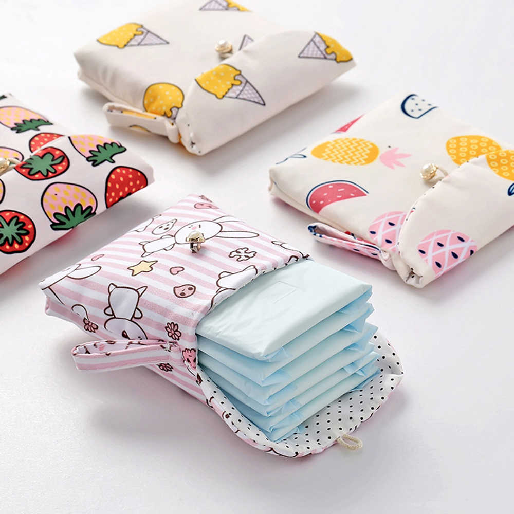 1 pcs Sanitary Bag Cute Cartoon Cotton Fabric Napkin Storage bag Large Capacity Women Sanitary Storage Bag Credit Card Organizer