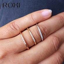 ROXI-anillo de compromiso con circón Micro pavé para mujer, sortija de boda clásica, sortija de compromiso delicada, joyería Roxi