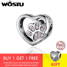 WOSTU Luxury Heart Dog Paw Beads 925 Sterling Silver Pink Enamel Charm Fit Original Bracelet Pendant Silver 925 Jewelry CQC1191(China)