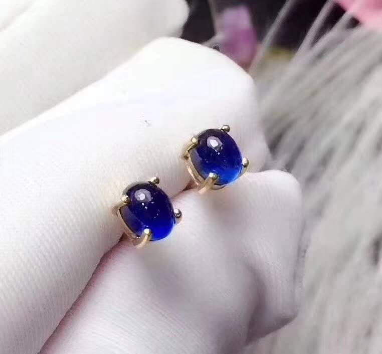 Natural Real Sapphire Stud Earrings For Women Pure 925 Sterling Silver Fashion...