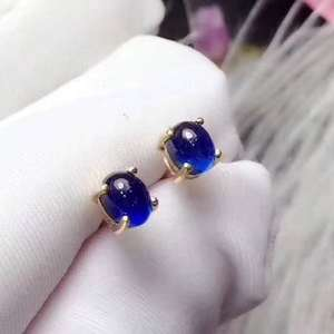 Natural Real Sapphire Stud Earrings For