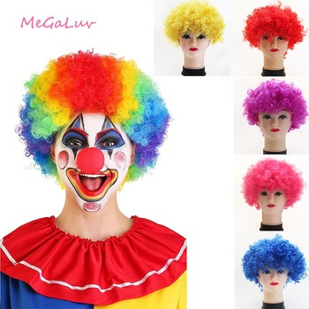 Clown Wig Curly Circus Fancy Dress Hair Wigs Explosion Birthday Wedding Party Hats Cosplay Props Halloween Party Supplies high quality carnival circus creepy giggles halloween clown head mask