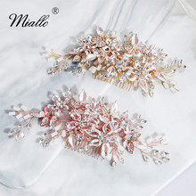 Miallo 2019 Newest Flowers Wedding Hair Comb Handmade Austrian Crystal Pearls Bridal Jewelry Accessories Headpieces