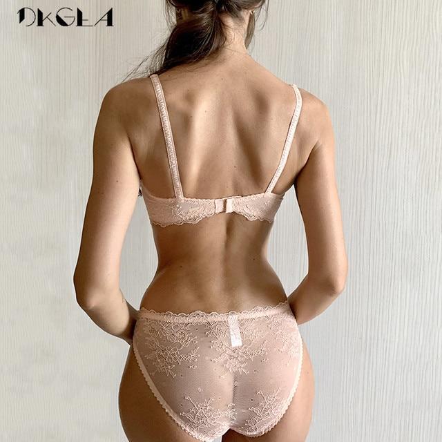 Ultrathin lingerie set plus size bras A B C Cup sexy lace bra set transparent women underwear black embroidery Bow 3