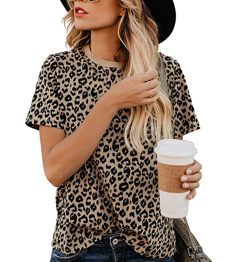2020 Spring Summer New Women T-shirt Casual Leopard Print Round Neck Short Sleeve Shirt Ladies Tops Tees Womens Clothing  (2)
