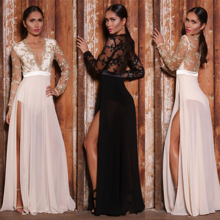 New Full Sleeve Gold Beaded 2018 Sexy Deep V-neck Sheer Bodice Robe De Soiree Split Girls Party Prom Gown Bridesmaid Dresses