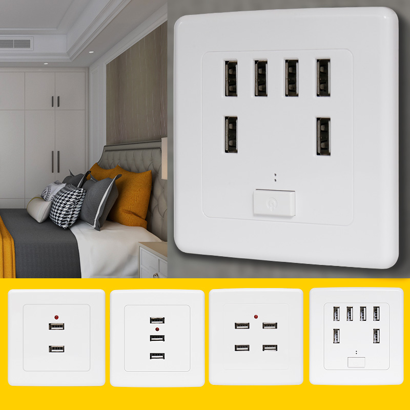 Bcsongben  2/3/4/6 Ports USB Wall Socket Charger Power Adapter Plug Outlet  Grounded Electric Wall Charger Adapter Charging
