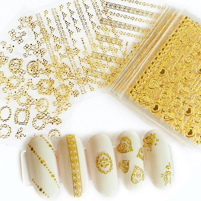 Золотистые и Серебристые 3d наклейки для дизайна ногтей Полые