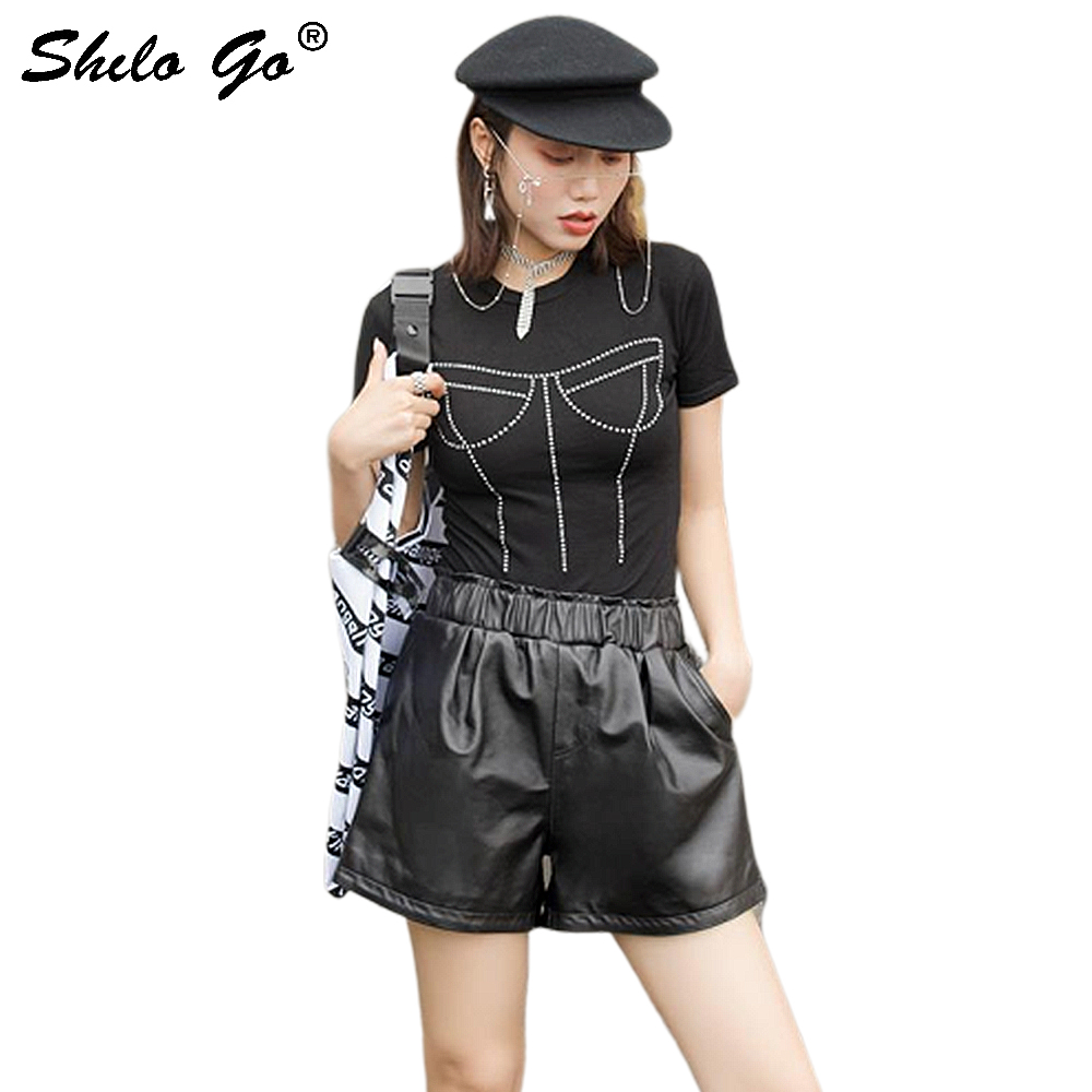 Genuine Leather Shorts Highstreet Minimalist Black Elastic Waist Hot Shorts Women Autumn Casual High Waist Side Pocket Shorts