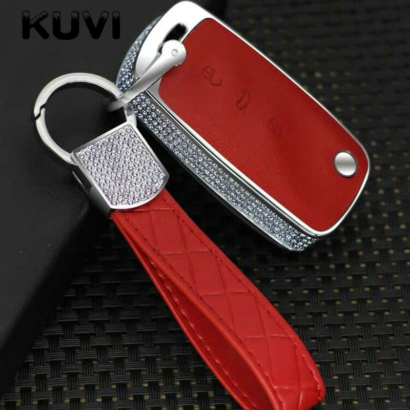 Luxury Diamond Leather Car Smart Key Case Cover For Volkswagen VW Passat Golf Jetta Bora Polo Sagitar Tiguan Auto Key Bag Cover in Key Case for Car from Automobiles Motorcycles