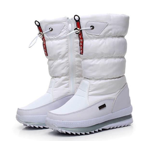Женские зимние ботинки; зимние ботинки на платформе; водонепроницаемые Нескользящие ботинки с толстым плюшем; модная женская зимняя обувь; теплые меховые ботинки; botas mujer - Цвет: Белый