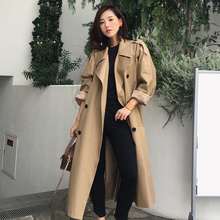 Khaki Trench Coat Casual Women's Long Outerwear Loose Clothes For Lady With Belt