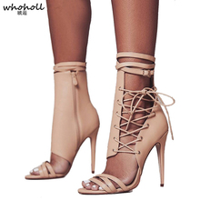 цены Roman Buckle Strap Shoes Women Sandals Sexy Gladiator Lace Up Peep Toe Sandals High Heels Woman Ankle Boots Black Aprict