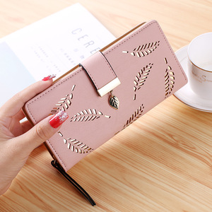 Hot Women Wallet Female Long Wallet PU Leather Purse Hollow Leaves Pouch Handbag For Women Coin Purse Card Holders Clutch(China)