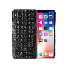 Cassa del telefono mobile in pelle naturale per Apple iPhone 7 8 Plus X Xs Max XR 11 12 Pro Max 12mini Ckhb 18k grano di coccodrillo di lusso