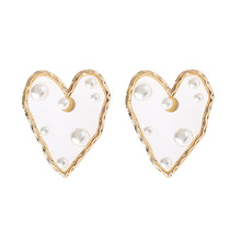 ZA Statement Pearl Heart Stud Earrings For Women Geometric Fashion Jewelry Christmas Gift Wedding Party Bijoux Wholesales