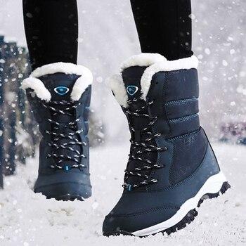 Botas de nieve impermeables para mujer, botas de plataforma de invierno cálidas e informales de piel gruesa, zapatos de exterior antideslizantes con cordones de alta calidad 2019