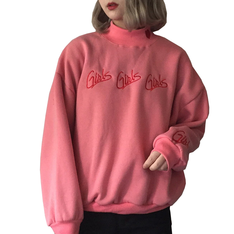 Fashion Women Sweatshirts Autumn Winter 2020 Korean Style New Pullover Cute Pink Blue Embroidery Letter Heart Kawaii Sweatshirt
