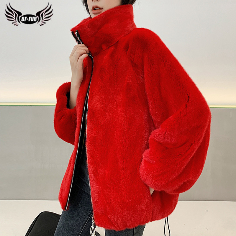 2020 Fashion Winter Genuine Mink Fur Jackets With Big Stand Collar High Quality Real Mink Fur Coats For Women Plus Size Overcoat