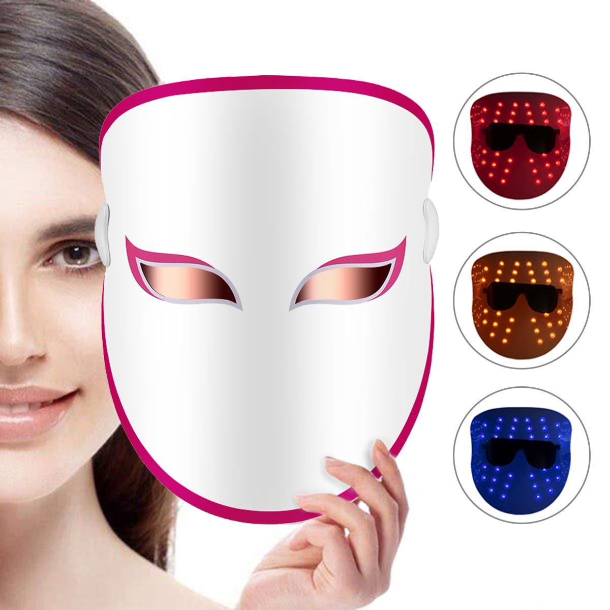 Anti-aging Photon Light Mask LED Light Therapy Mask Skin Rejuvenation Tool 32 LED lights Red Blue Orange Lift And Tighten Skin