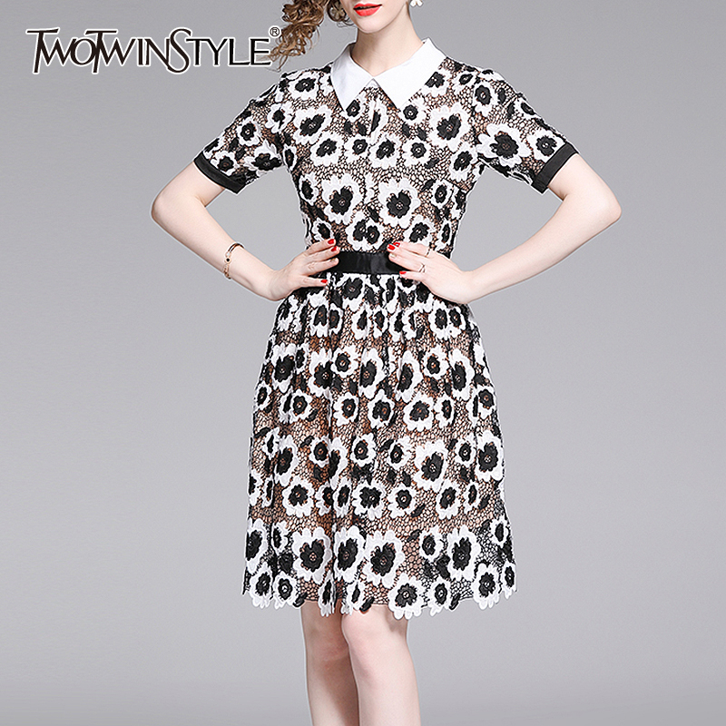 TWOTWINSTYLE Vintage Print Women Dress Lapel Collar Puff Short Sleeve High Waist Hollow Dresses Female Fashion Clothing 2020 New