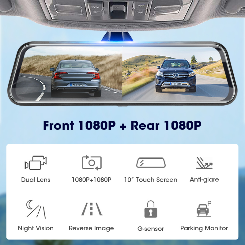 Jansite 10 inches touch screen 1080p best car dvr stream media dash camera dual lens video recorder front and rearview mirror 1080p rear camera