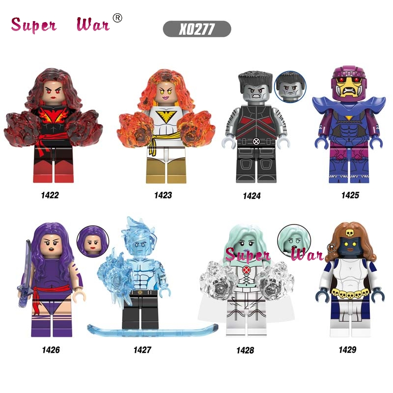 Single Avengers Marvel X Men Dark Phoenix Colossus White Queen Mystique Sentinel Psylocke Iceman Building Blocks Kids Toys