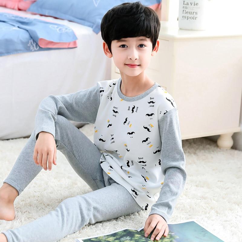 H5665 Boys Pajamas Homewear Cotton Spring Autumn Long Sleeve Nightwear Home Clothes Men Cartoon Comfortable Leisure Sleepwear