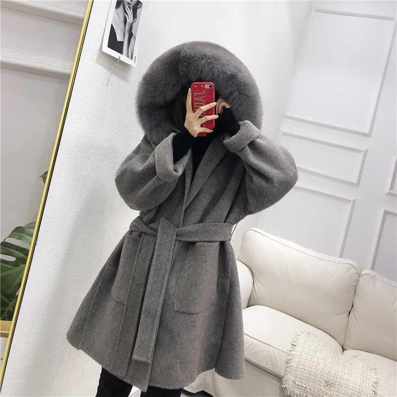 OFTBUY 2019 Real Fur Coat Winter Jacket Women Natural Fox Fur Collar Hood Cashmere Wool Woolen Overcoat Ladies Casual Outerwear