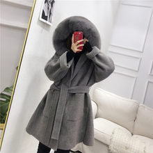 OFTBUY 2019 Real Fur Coat Winter Jacket Women Natural Fox Fur Collar Hood Cashmere Wool Woolen Overcoat Ladies Casual Outerwear(China)