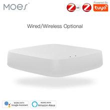 Tuya ZigBee inteligentny koncentrator bramy inteligentny most domowy inteligentne życie APP bezprzewodowy pilot współpracuje z Alexa Google Home tanie tanio MOES CN (pochodzenie) Gotowa do działania Zgodna ze wszystkimi Smart Life Tuya App 2 4GHz 50 for wireless 300 for wired