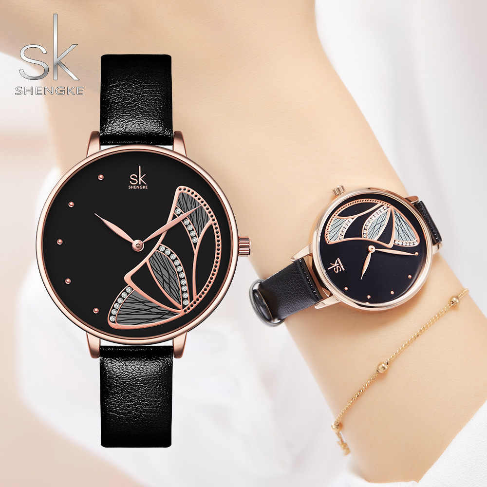 SHENGKE Women Casual Watch Rose Gold Waterproof Fashion Quartz Wirstwatch for Lady Butterfly Creative Girls Gift Clock Black