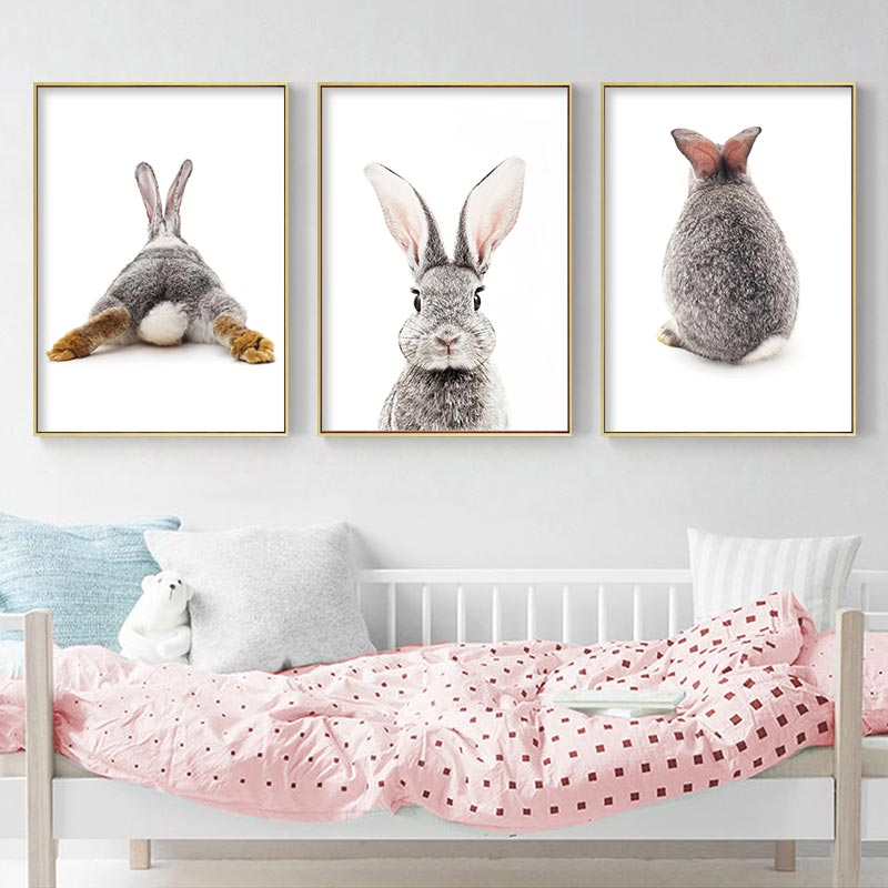 Grey Rabbit Animal Posters And Prints Canvas Art Painting Cute Bunny Wall Art Nursery Decorative Picture Nordic Kids Decoration