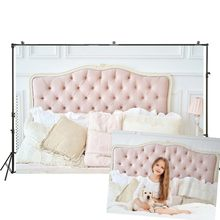 Photography Backdrop Light Colors Luxury Elegant Classic Bedroom Background Pink Buttoned Headboard Studio Baby Portraits Banner(China)
