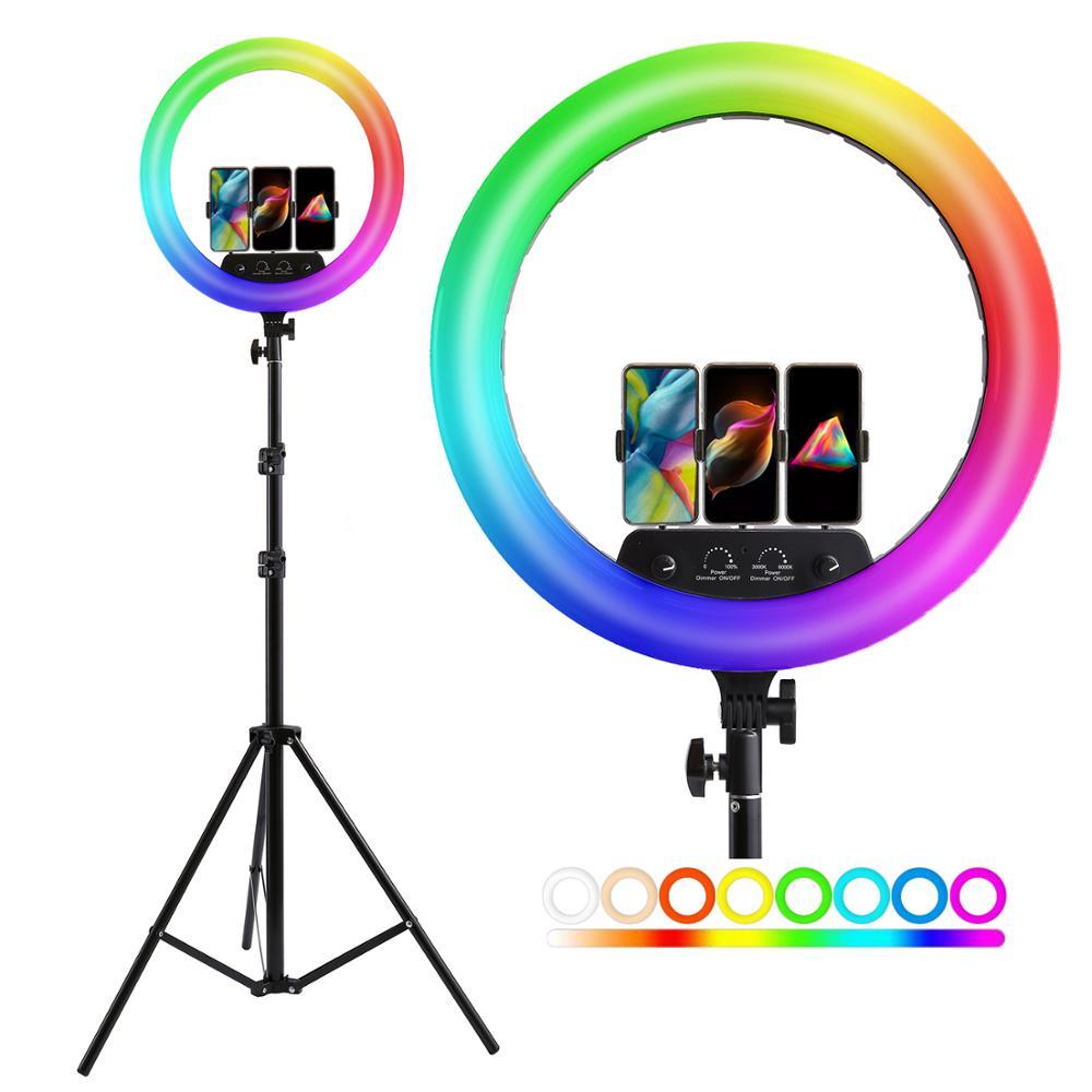 Кольцевой светодиодный RGB светильник, лампа 14/18 дюймов с дистанционным управлением, со штативом 200 см, для съемки фото и видео, подходит для н...