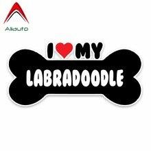 Aliauto yaratıcı araba Sticker I kalp benim Labradoodle kemik PVC yansıtıcı güneş koruyucu su geçirmez dekorasyon çıkartmaları, 15cm * 7cm
