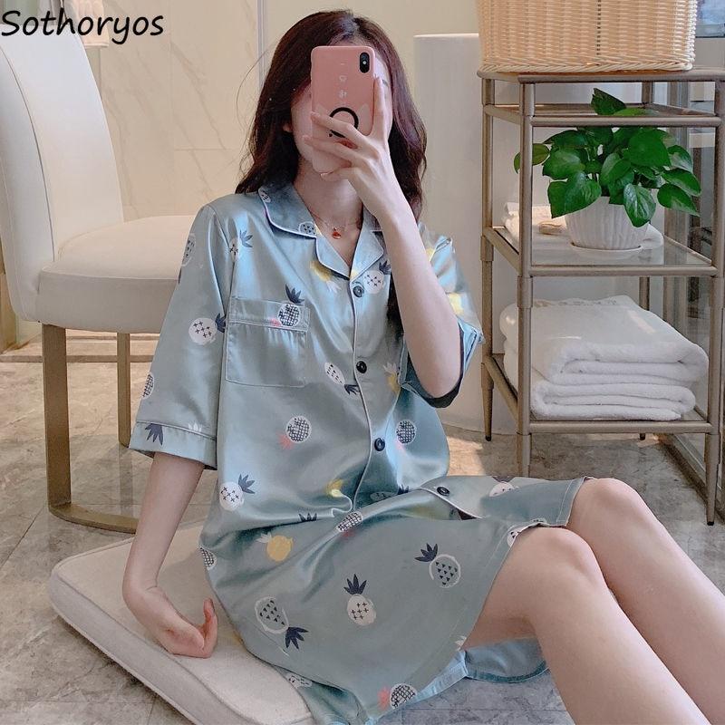 Nightgowns Women Sleepwear Turn-down Collar 2XL Silk Pocket Slip Sexy Leisure Breathable Ulzzang Homewear Womens Satin Printed