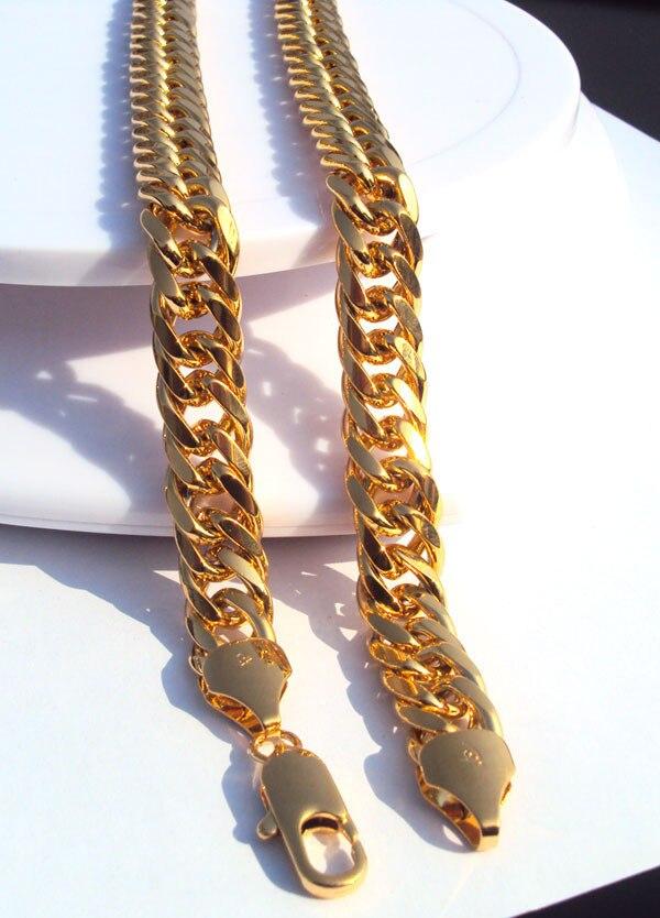 Мужские Золото 24 K чистого золота отделка толстые Майами Кубинский ожерелье цепь 10 мм тяжелый