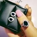 925 prata esterlina conjunto de jóias de noivado de halo anel redondo brinco do parafuso prisioneiro para o casamento presente do dia de natal festa J4944-blue