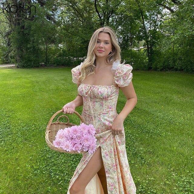 summer fashion elegant print Slit maxi dress  french romantic  4